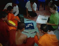 Group playing word games