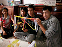 Straw bridge building contest